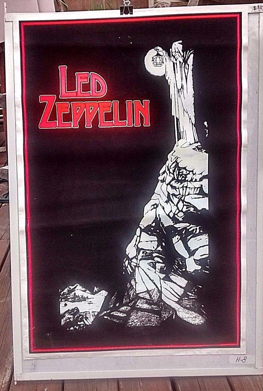 Led Zeppelin 1988 Velvet Blacklight Poster 23 X 34 3 4 Led