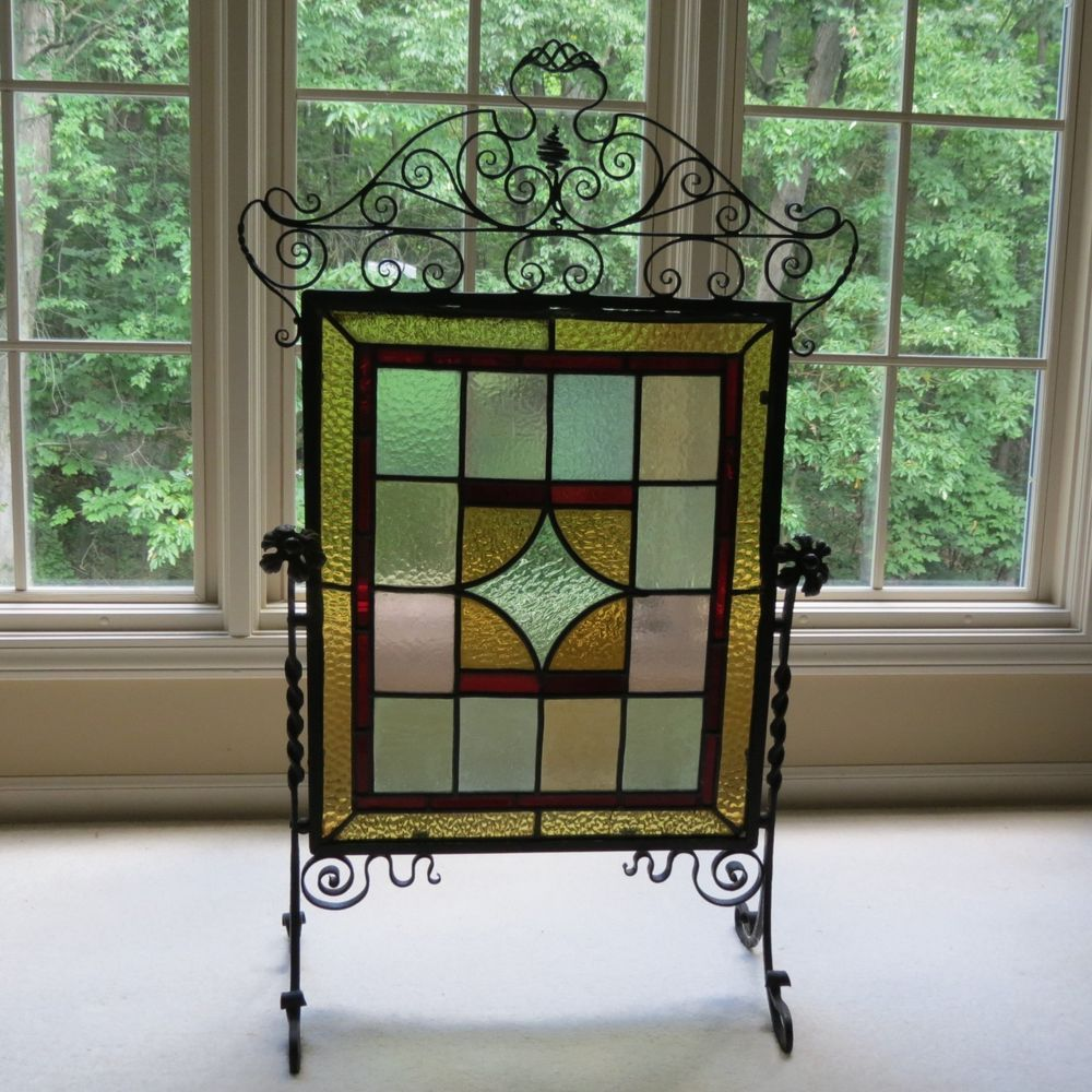 antique stained glass u0026 wrought iron fireplace screen guard