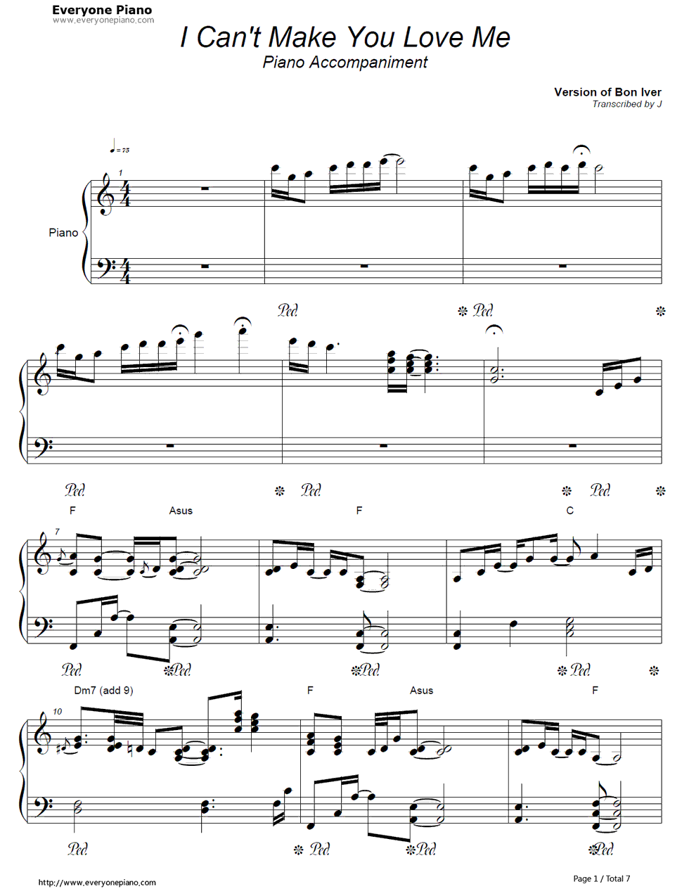 Free I Can't Make You Love Me-Bon Iver Sheet Music Preview 1