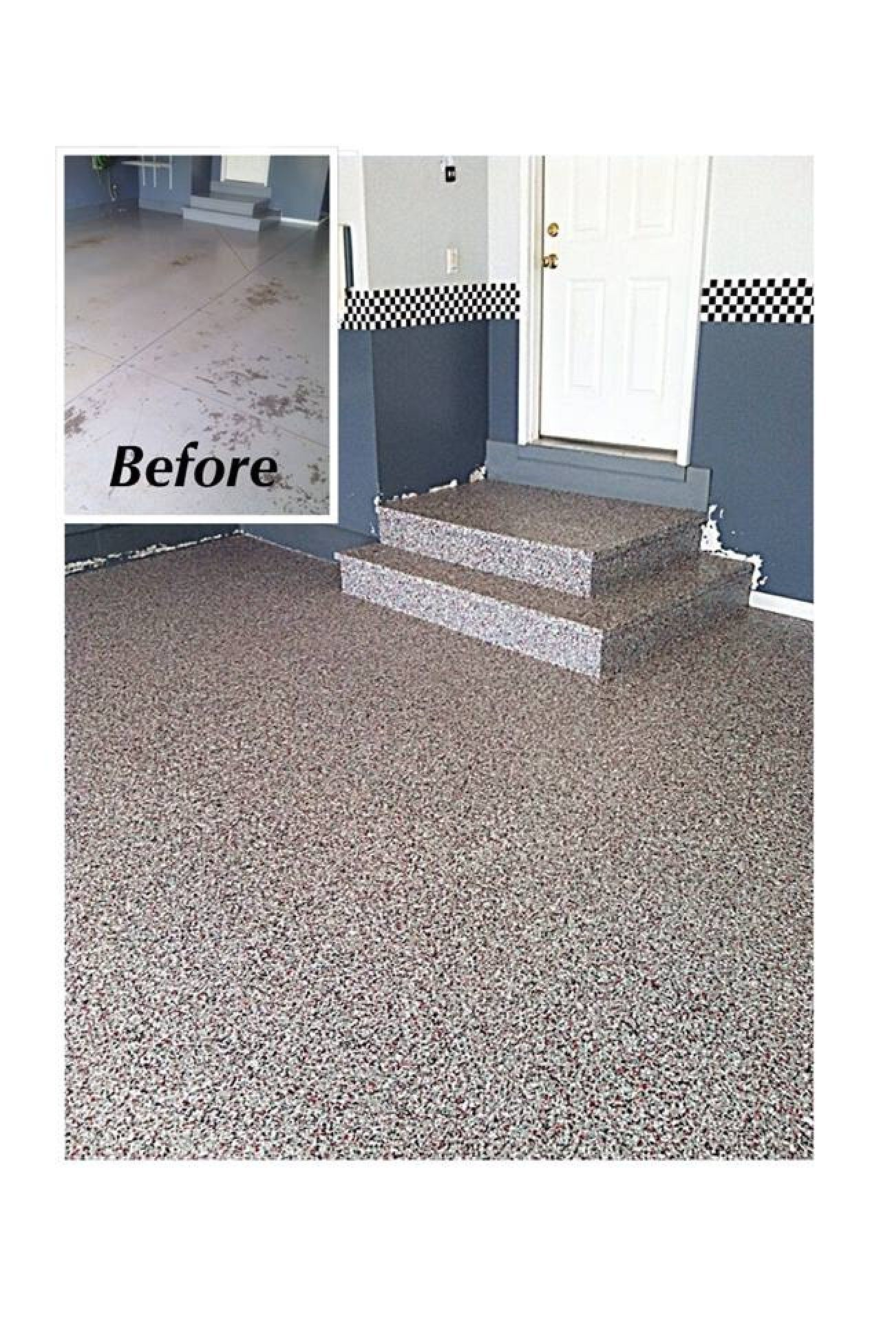 Garage Floor Epoxy Steps Decorative And Durable Epoxy Flake Garage And Steps In Findlay