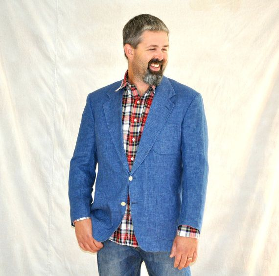 Mens Chambray Blazer. Vintage Blue Denim Sport Coat 44R. Men's ...