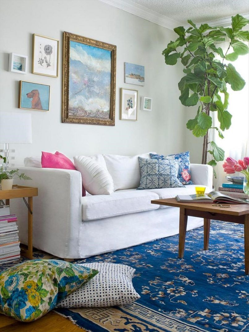 Living Room White Sofa Painting Green Plant Blue Pattern Carpet Pink ...