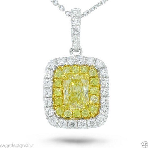 0.97 TCW 14K Two Tone Gold Fancy Yellow Radiant Cut Diamond Pendant Necklace #SageDesigns #Pendant
