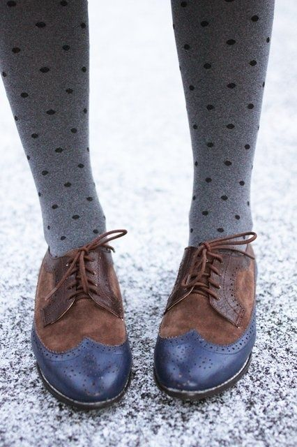 Oxfords And Polka Dot Tights Picture & Image   tumblr