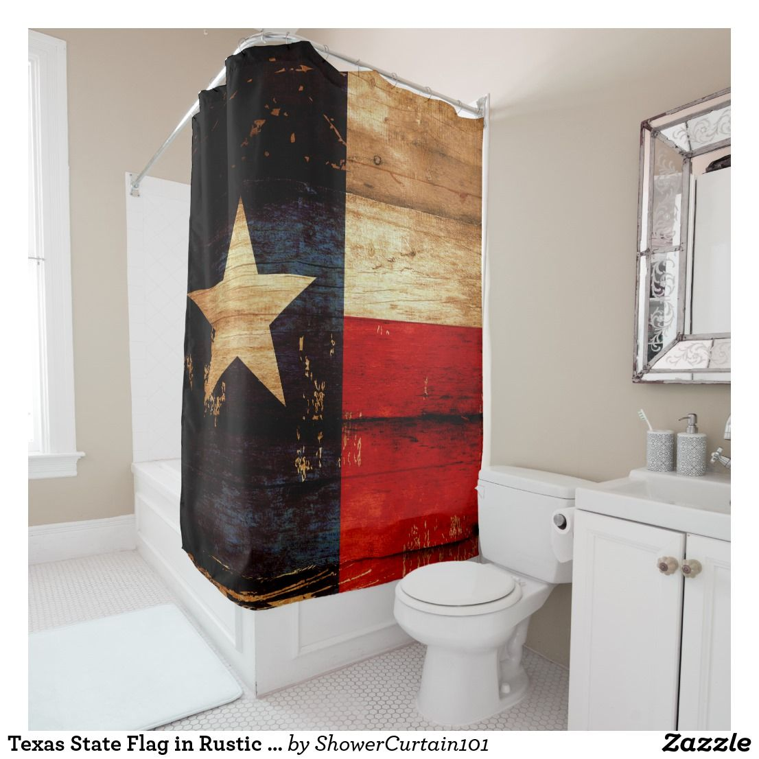 Texas State Flag In Rustic Wooden Grunge Look Shower Curtain Zazzle Com In 2021 Texas Bathroom Decor Texas Home Decor Shower Curtain Texas longhorn bathroom decor