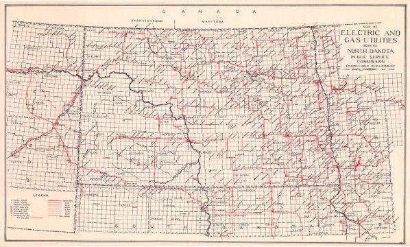 Map Of Electric And Gas Utilities Serving North Dakota Gas Utility North Dakota Electricity