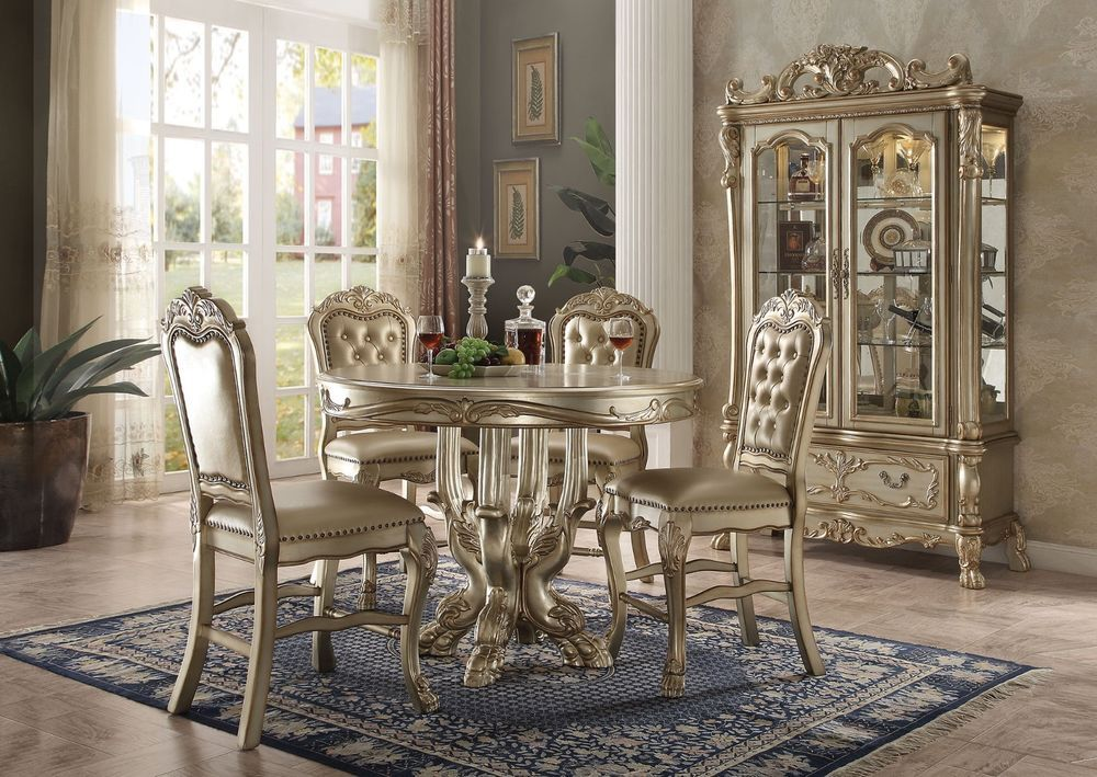 Acme Dresden Gold Patina Bone Finish Counter Height Dining Set 63160 Ebay Luxury Dining Room Counter Height Dining Table Set Dining Table Decor Centerpiece