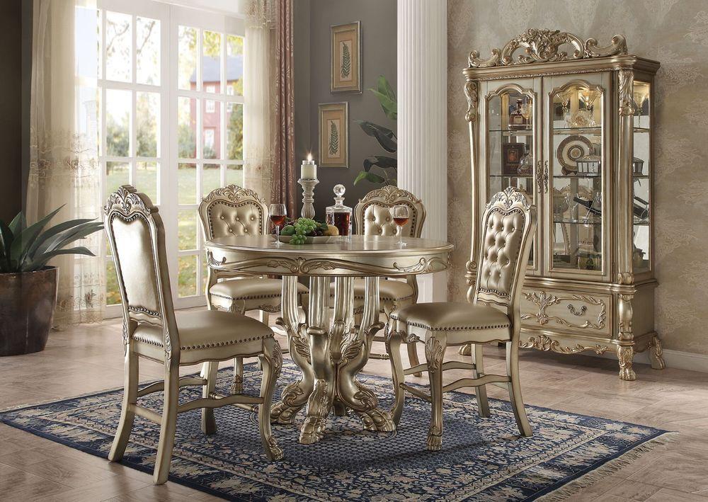 Acme Dresden Gold Patina Bone Finish Counter Height Dining Set
