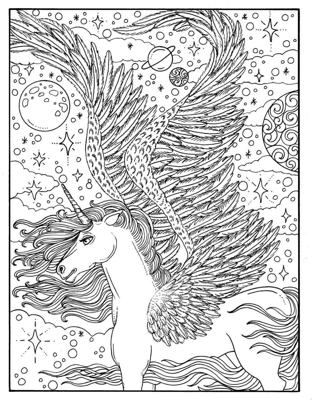 Digital Coloring Book Unicorn Dreams Magical Fantasy ...
