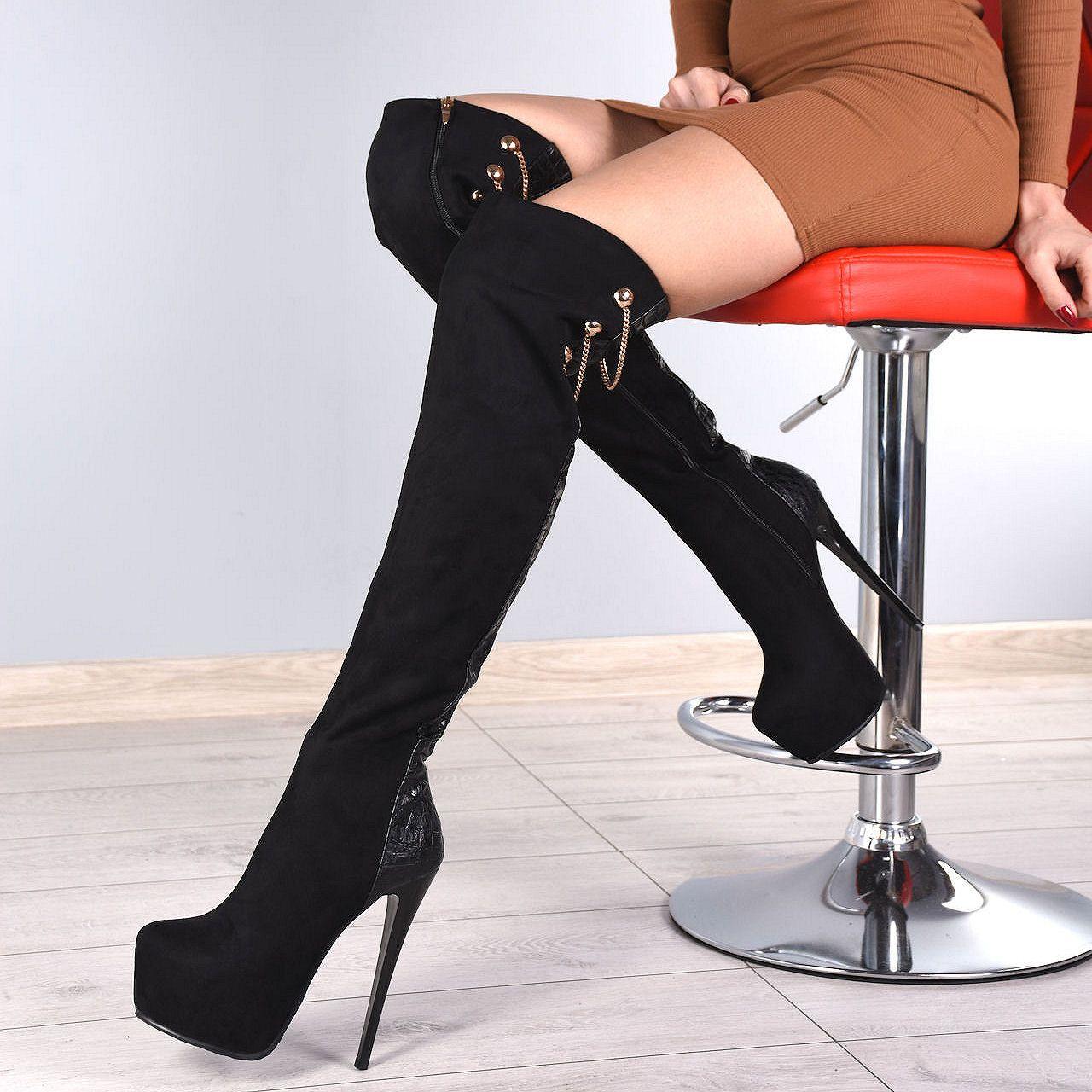 Kozaki Czarne Wezowy Pasek Zlote Lancuchy 5851 Fashion Boots Knee Boots