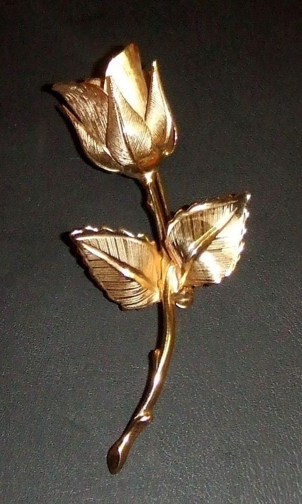 09730863163 Vintage Giovanni Textured Goldtone Figural Long Stemmed Rose Brooch/Pin**