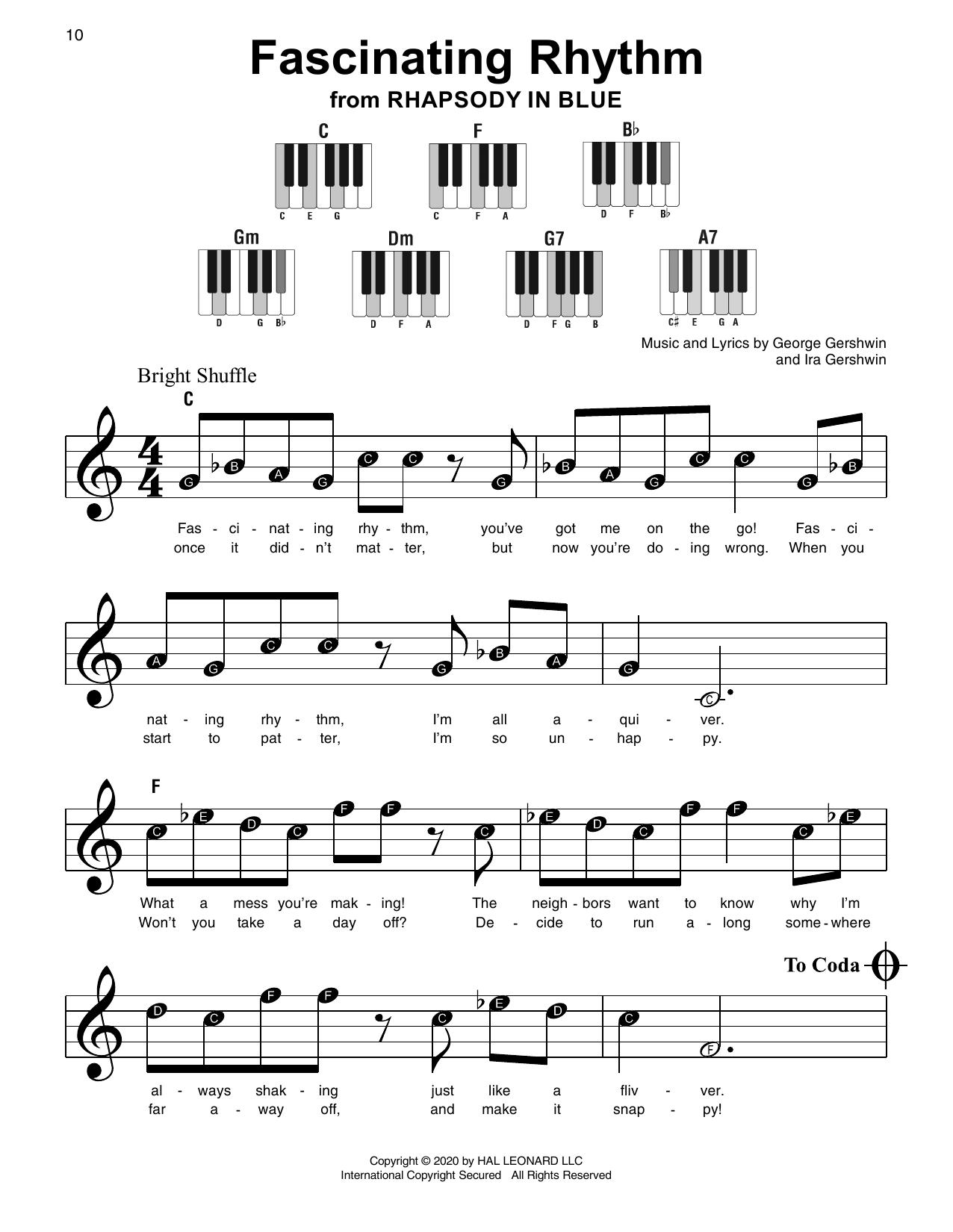 George Gershwin Ira Gershwin Fascinating Rhythm From Rhapsody In Blue Sheet Music Notes Chords Sheet Music Notes Sheet Music Gershwin