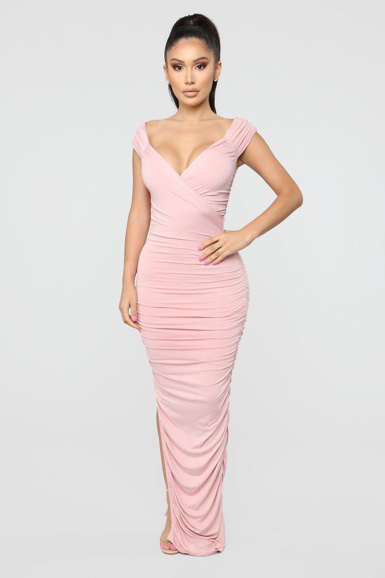 Call Me Elastic Ruched Maxi Dress Pink Dresses, Short