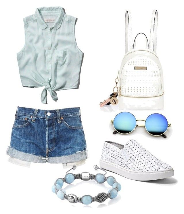 blue and white by lilia-naiman on Polyvore featuring polyvore fashion style Abercrombie & Fitch Steve Madden River Island Shamballa Jewels clothing