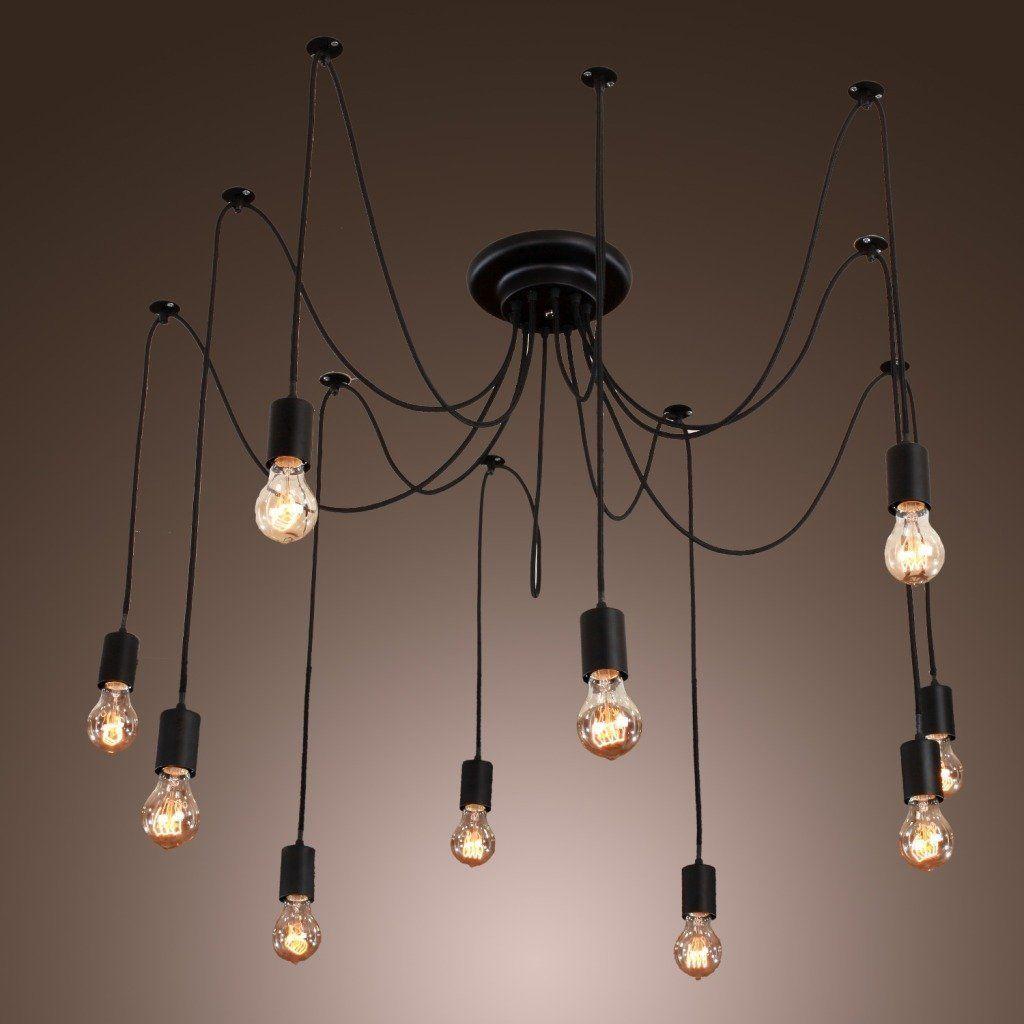 Iegeek Fuloon 10 Lights Vintage Edison Lamp Shade Multiple Adjule Diy Ceiling Spider Pendent