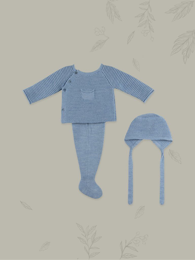 41d047791ab2 Knitted Indigo Baby Boy 3-piece Set