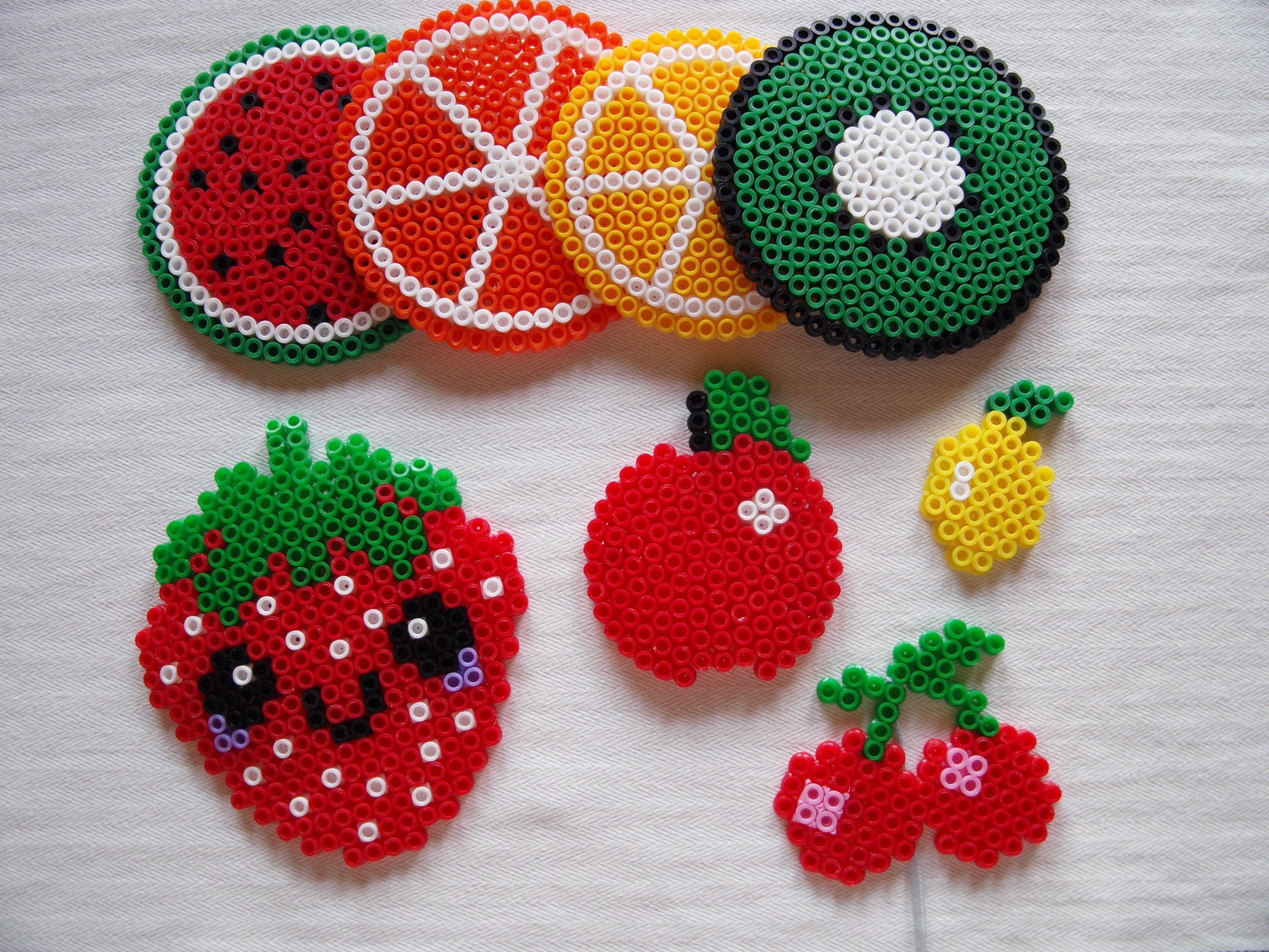 Obst & Früchte Untersetzer aus Bügelperlen Apfel, Kiwi, Zitrone ...