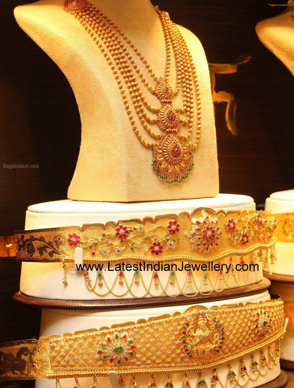 Gold vaddanam oddiyanam kammarpatta waisbelt designs south indian - Bridal Step Haram And Vaddanam Gold Jewelleryindian