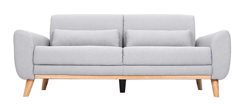 canap design 3 places tissu gris clair pieds chne ektor - Pied De Canape Design