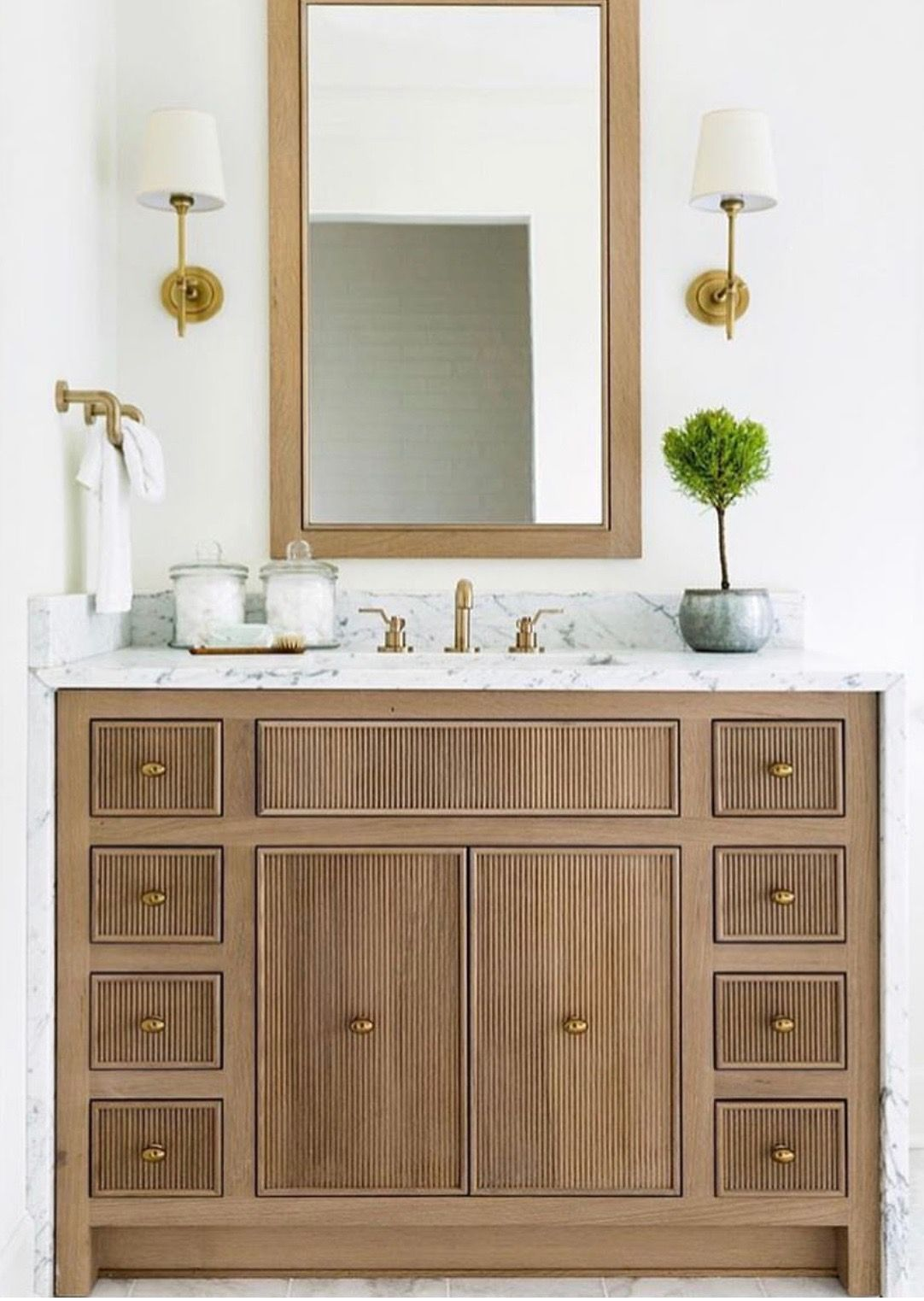 Wood Finish Bathroom Vanity Brass Reeded Cabinets Detail In 2020