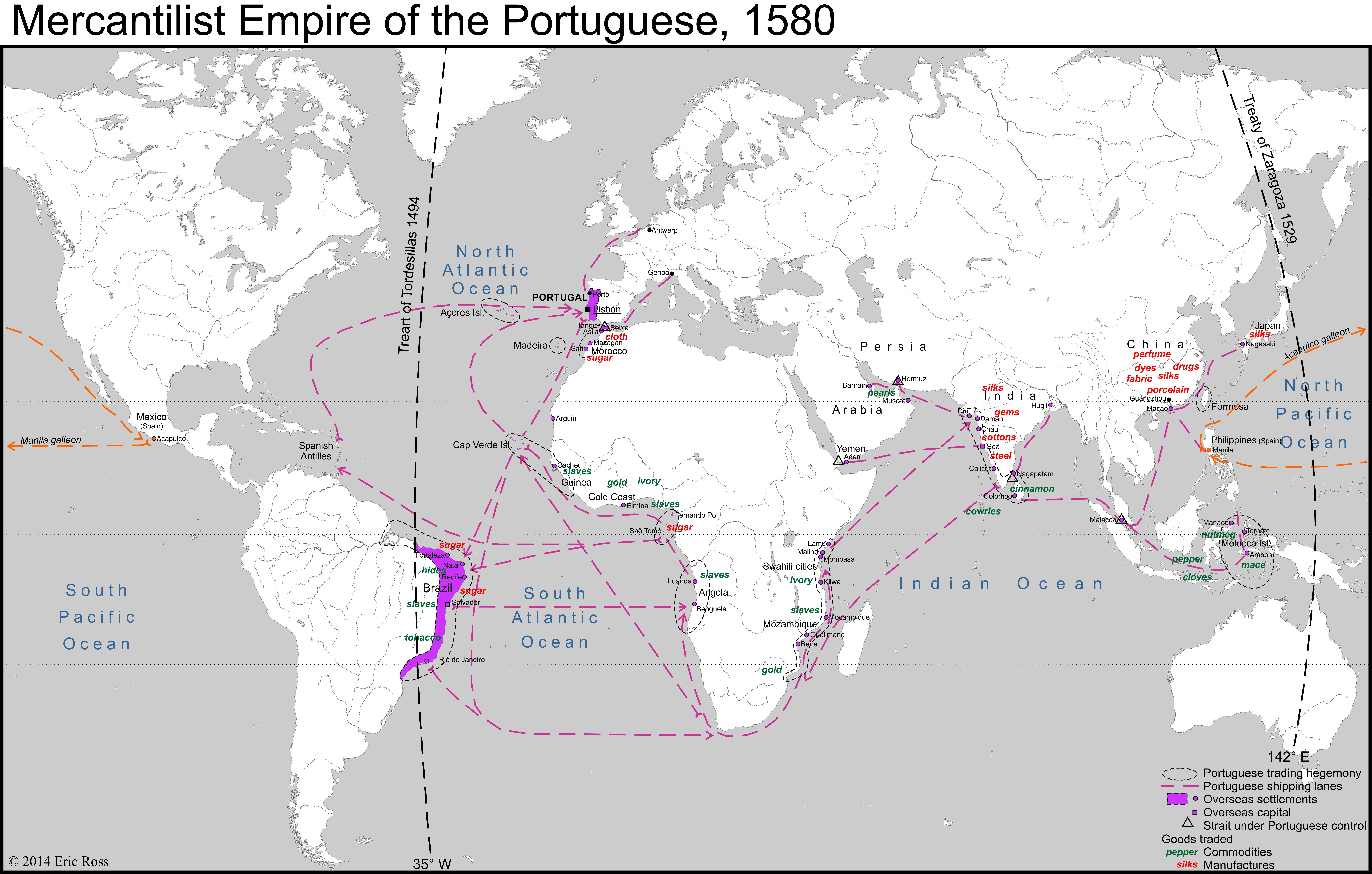 Mercantilist empire of portugal 1580 by eric ross map portugal mercantilist empire of portugal 1580 by eric ross map portugal world gumiabroncs Images