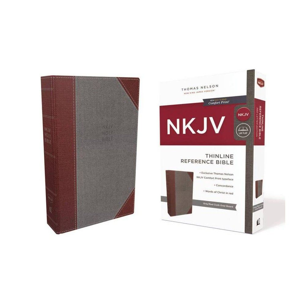 Nkjv Thinline Reference Bible Cloth Over Board Gray Red Red