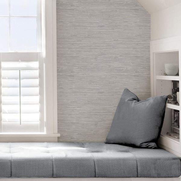 NuWallpaper Metallic Tibetan Grasscloth Silver Peel and