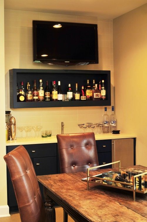 nice wet bar idea liquor shelf as decor too