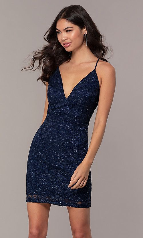 Short Fitted Navy Blue Lace Party Dress