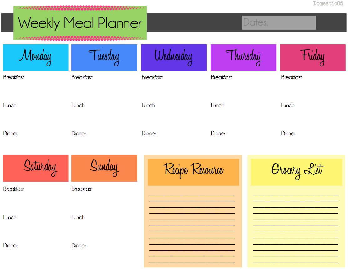 Weekly Meal Planning need to do this so we dont eat out so – Weekly Meal Plan Template