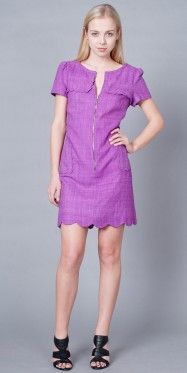 Beautiful Formal Purple Polyester Scoop Piping Cocktail Dresses Short  Tunic