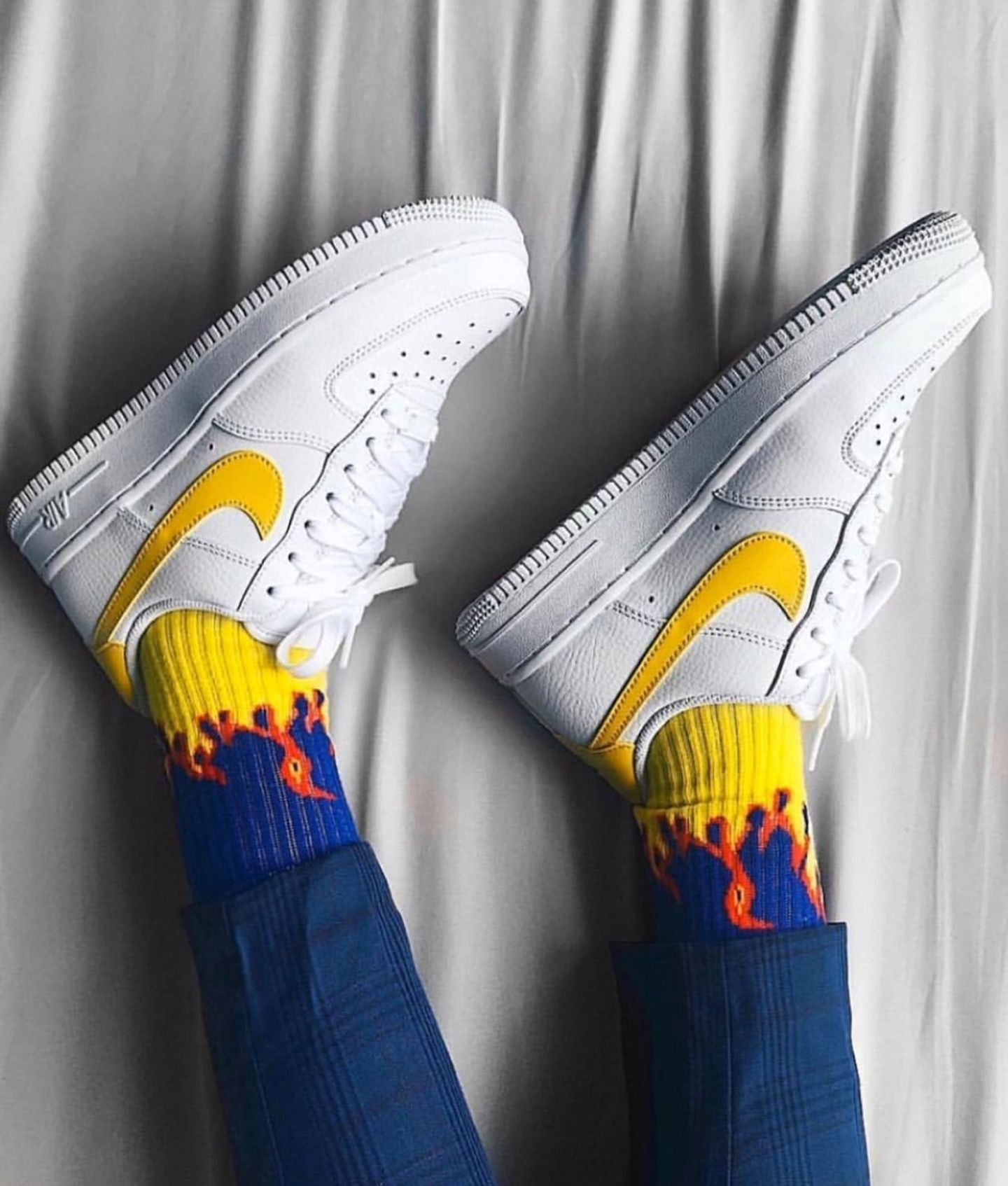 Yellow Flame Crew Cut Socks