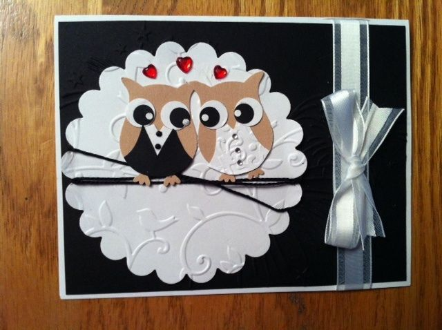 stampin up owl punch cards | Wedding card -Stampin up owl punch