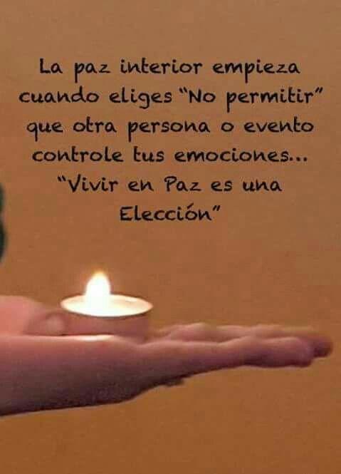 """La paz interior empieza cuando eliges """"no permitir"""" que otra persona o evento controle tus emociones... """"vivor en Paz es una elección"""""""
