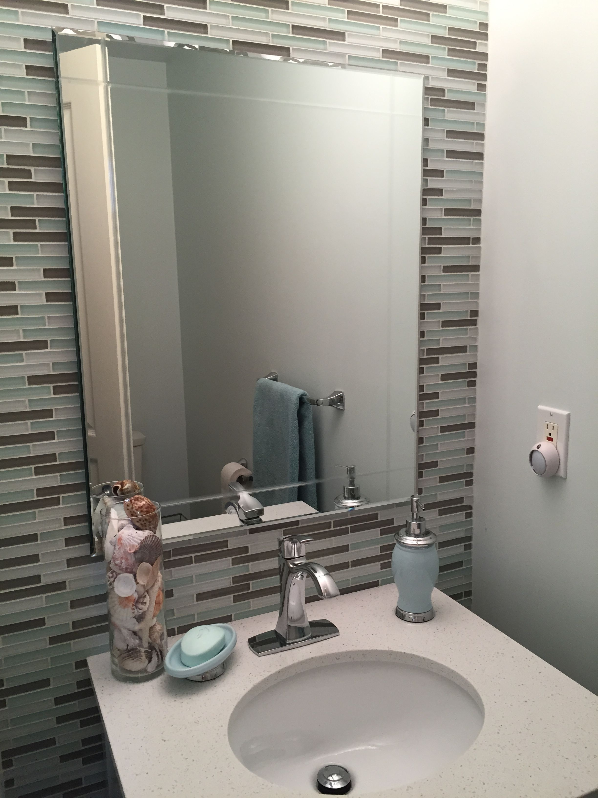 - Powder Room Glass Tile Backsplash Glass Tile Backsplash, Glass