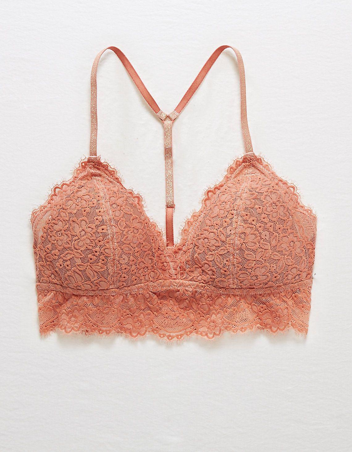 Bra ~ Bralette Criss Cross Back Crochet Lace Aerie Pink