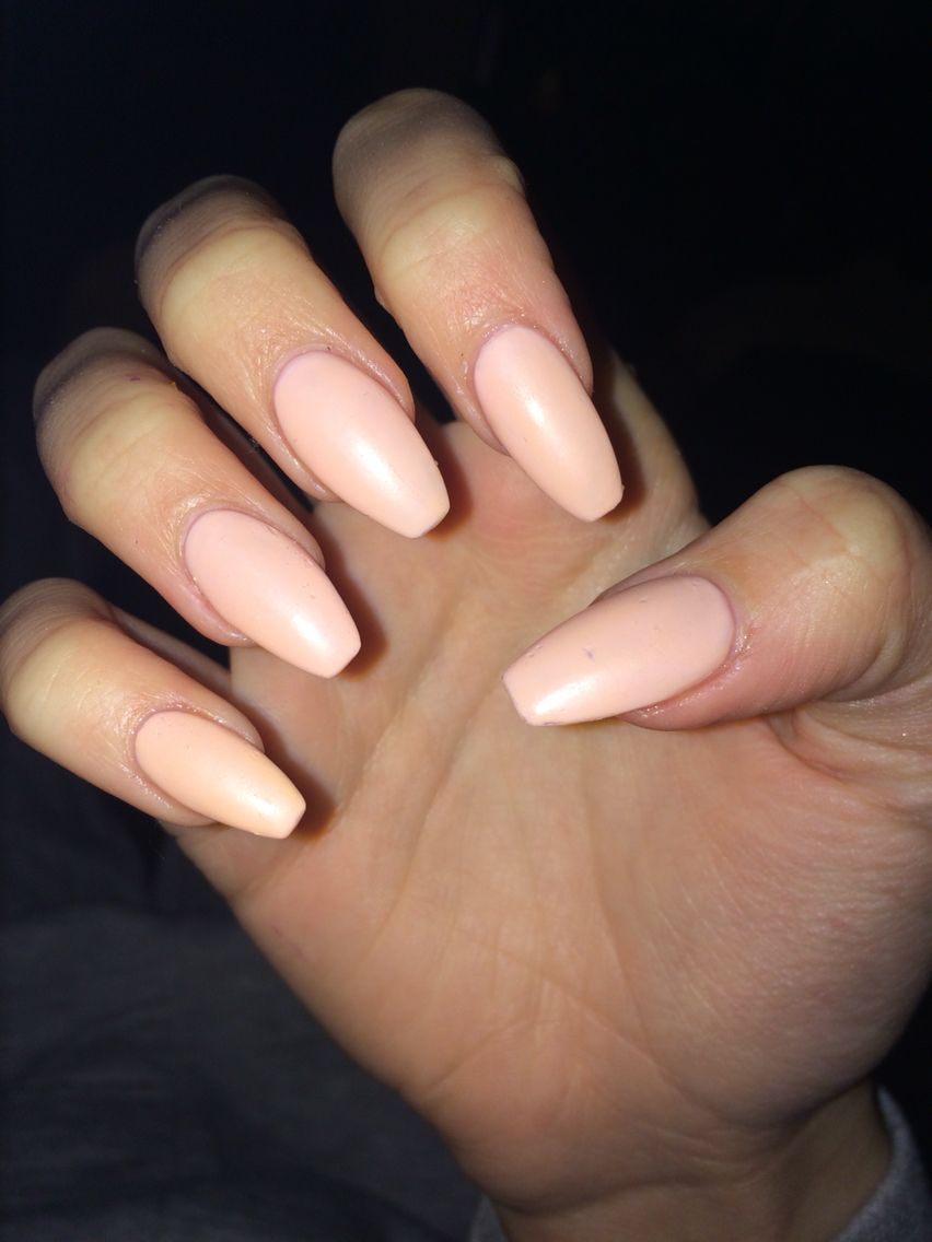 Matte coffin nails, nude pink   Nails   Pinterest