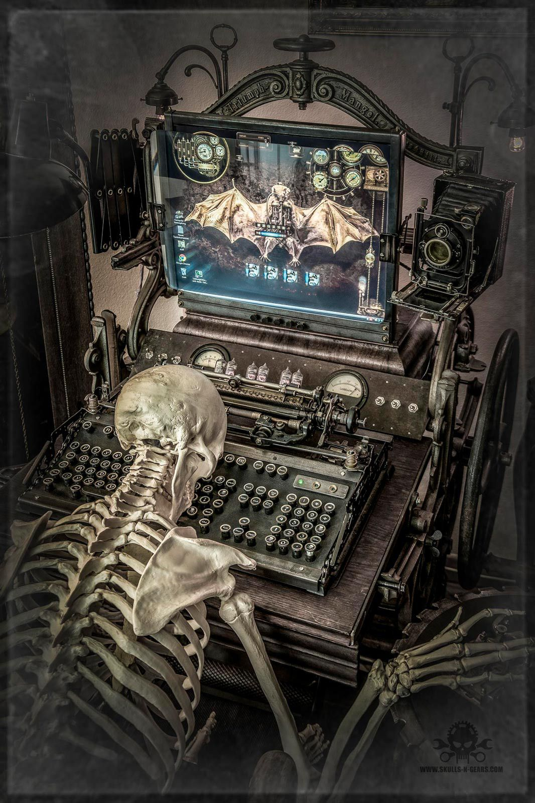 Dead Man Working - [ DMW-01 ] Steampunk Artwork - Photography, art print on canvas 120x80 cm by skulls-n-gears