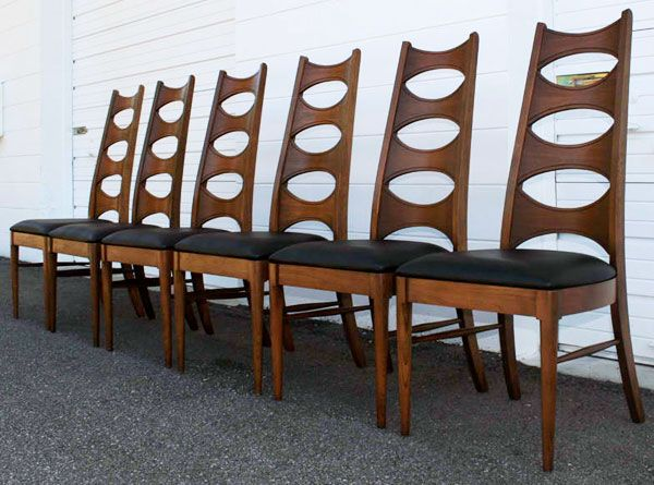 Mid Century Modern Walnut U0026 Black Vinyl Dining Chairs