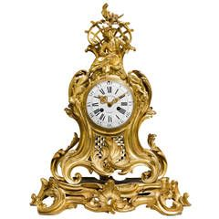 Louis XV Period Chinoiserie Ormolu Mantel Clock by Charles Du Tertre