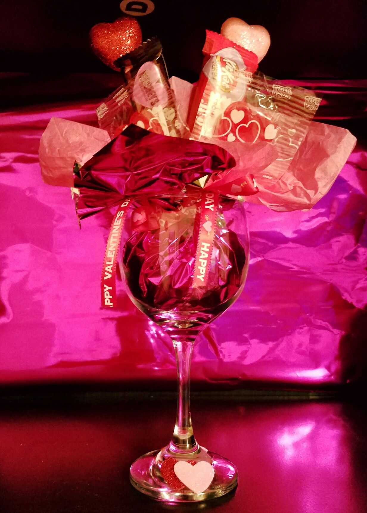 My First Candy Bouquet Wine Glass Valentine Gift Baskets Valentines Day Wine Valentines Wine