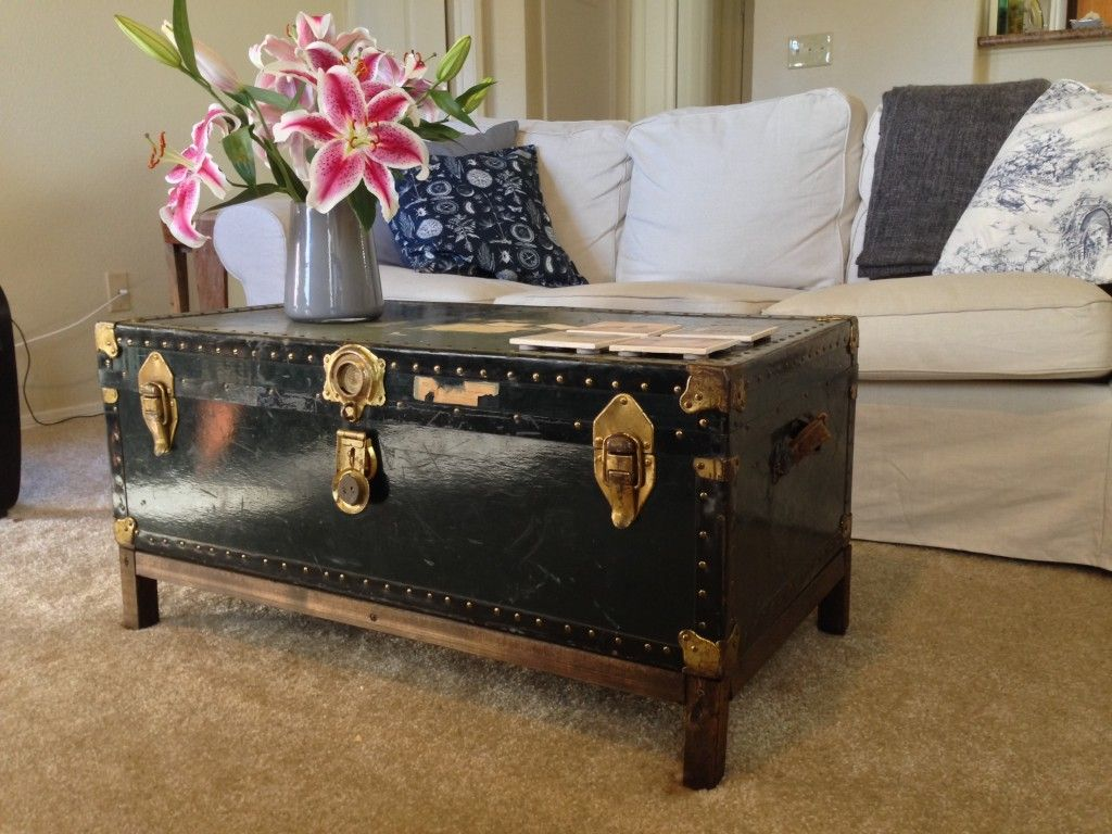 - DIY Coffee Table From Antique Steamer Trunk - Finishing Touches