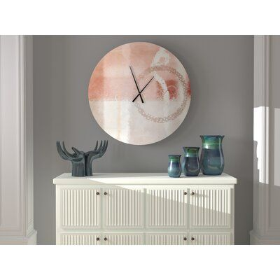 Ebern Designs This wall clock perfect for any room. The textures and colors used convey a sense of artistic mastery. Size: Large