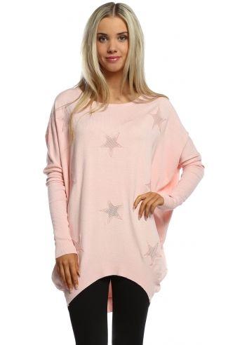 feaaa8513 Laetitia Mem Baby Pink Mesh Stars Oversized Jumper