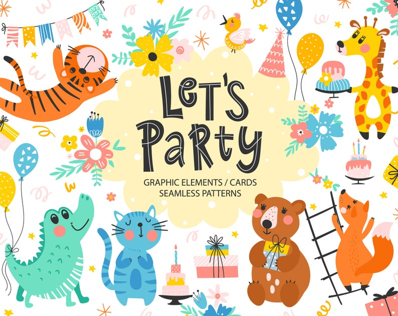 Woodland Animals Clipart Happy Birthday Party Decorations Etsy Happy Birthday Party Decorations Funny Birthday Cards Card Patterns