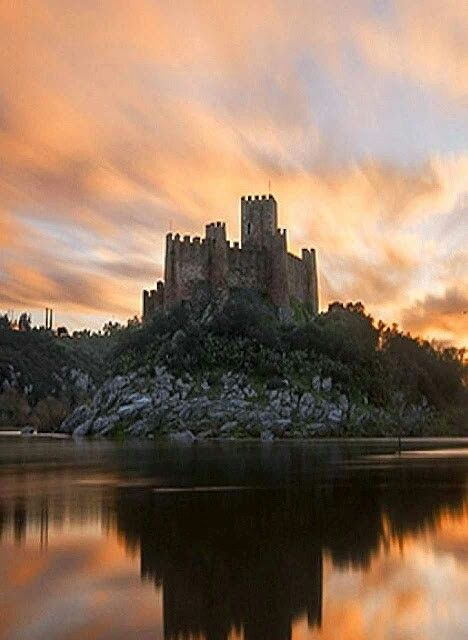 Castelo De Almourol Portugal Castle Sunrise Travel