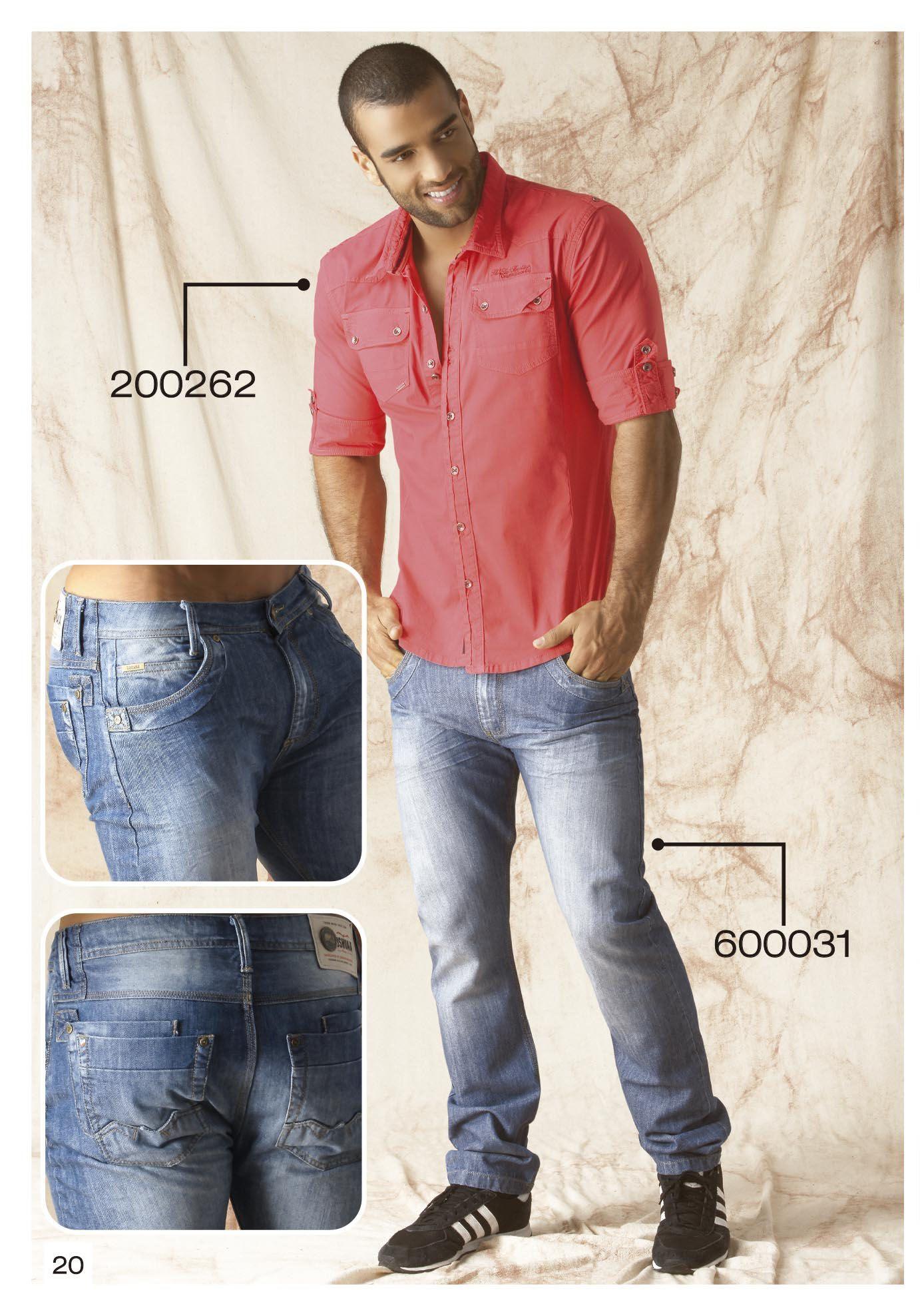 Camisa-manga-tres-cuartos-color-coral-jeans-azul-claro  5a7d3626a263e