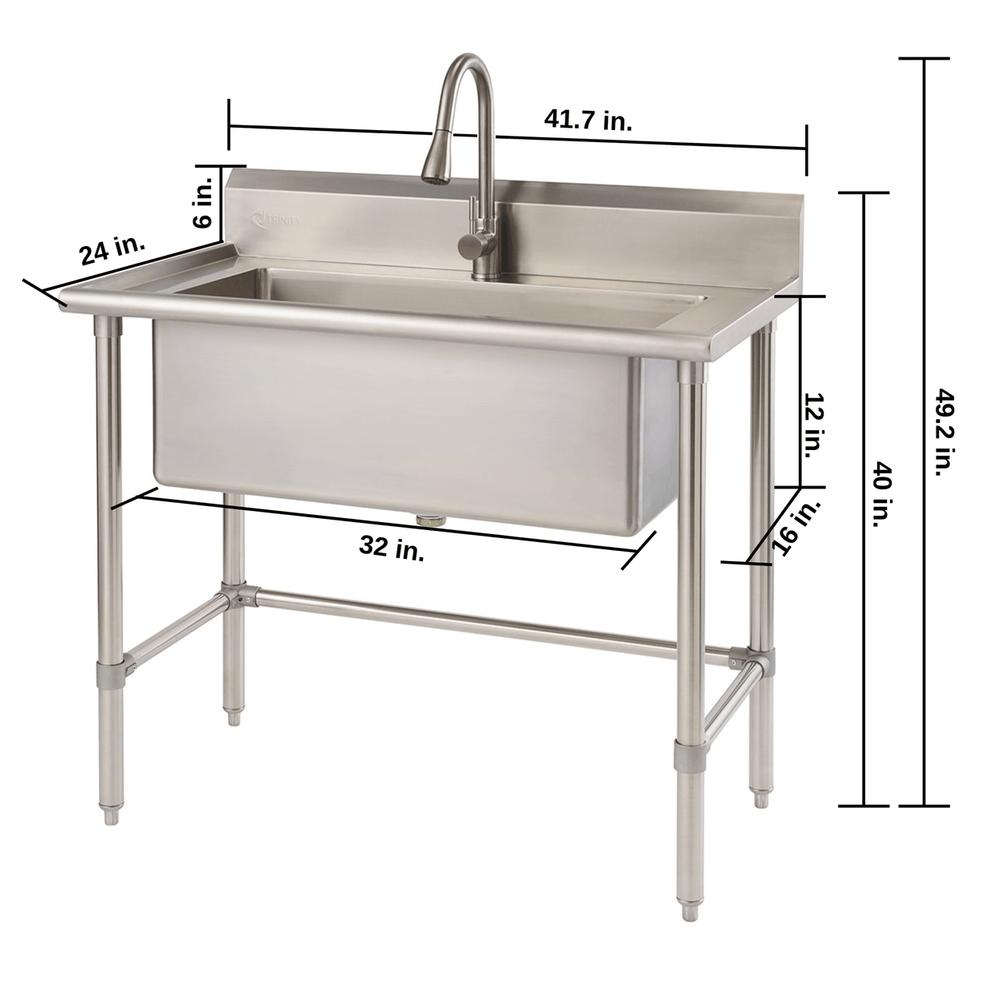 Trinity 32 X 16 Stainless Steel Utility Sink In 2020 Utility