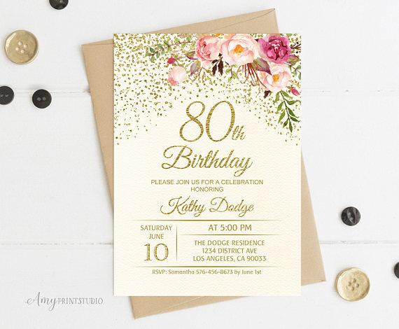 80th Birthday Invitation Floral Ivory Cream Invite PERSONALIZED Dig