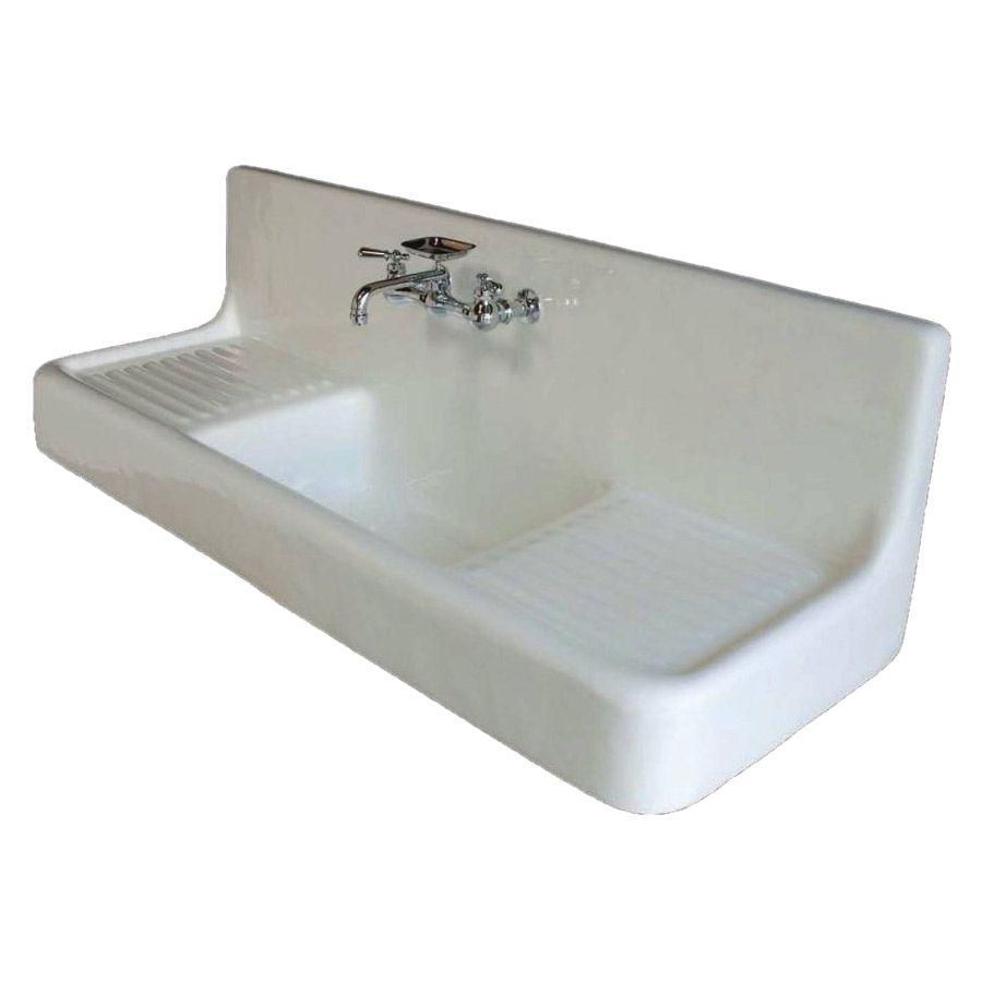 Strom Plumbing Clarion Farmhouse Drainboard Sink P0812 White
